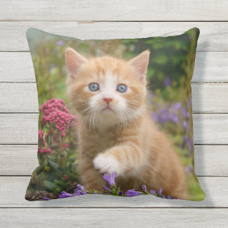 Cute Ginger Cat Kitten in Garden Photo for Outside Throw Pillow