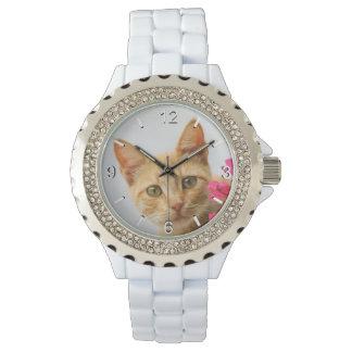 Cute Ginger Cat Kitten Portrait - women dial-plate Watch