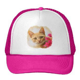 Cute Ginger Cat Kitten Watching Portrait Photo cap