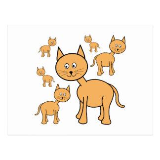 Cute Ginger Cats.  Cat Cartoon. Postcard
