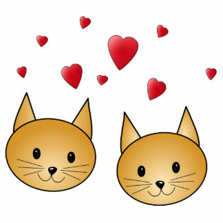 Cute Ginger cats. With Red Love Hearts. Photo Sculptures