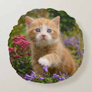 Cute ginger kitten in a garden round cushion