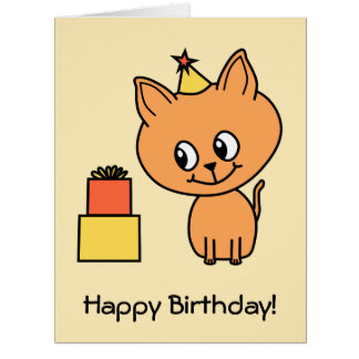 Cute Ginger Kitten Wearing a Birthday Hat. Big Greeting Card