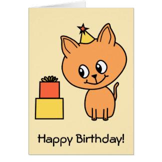 Cute Ginger Kitten Wearing a Birthday Hat. Card