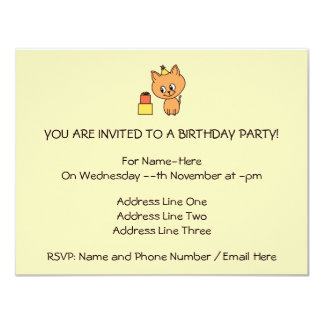 Cute Ginger Kitten Wearing a Birthday Hat. Personalized Announcement
