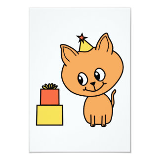 Cute Ginger Kitten Wearing a Birthday Hat. 9 Cm X 13 Cm Invitation Card