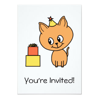 Cute Ginger Kitten Wearing a Birthday Hat. Invite