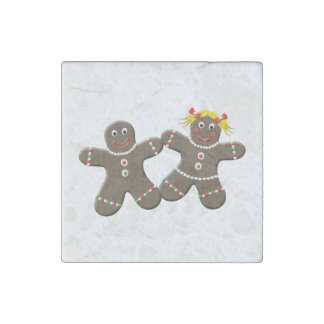 Cute Gingerbread Boy And Girl Gingerbread Couple Stone Magnet