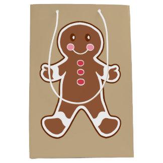 Cute Gingerbread Boy Christmas Gift Bag Medium Gift Bag