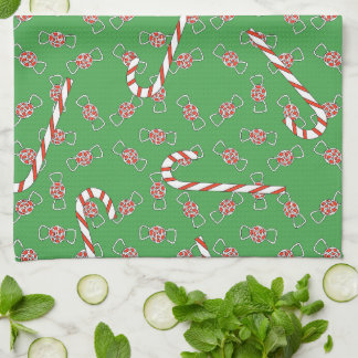 Cute Gingerbread Boy Man Christmas Candy Canes Kitchen Towels