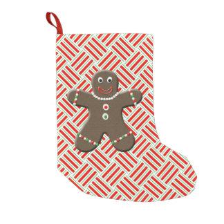 Cute Gingerbread Boy Man Christmas Festive Red Small Christmas Stocking