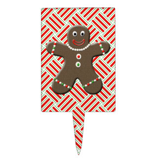 Cute Gingerbread Boy Man Christmas Holiday Cake Picks