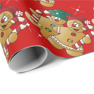 Cute Gingerbread Christmas Couple Wrapping Paper