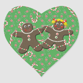 Cute Gingerbread Cookie Couple Holiday Heart Sticker