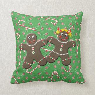 Cute Gingerbread Couple Boy Girl Christmas Candy Throw Cushion