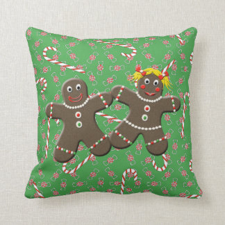 Cute Gingerbread Couple Boy Girl Christmas Candy Throw Pillow