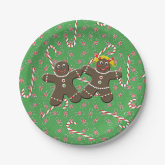 Cute Gingerbread Couple Boy & Girl Christmas Xmas 7 Inch Paper Plate