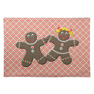 Cute Gingerbread Couple Boy Girl Red Christmas Place Mat