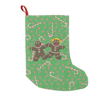 Cute Gingerbread Couple Christmas Candy Canes Xmas Small Christmas Stocking