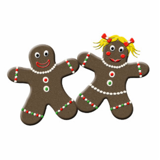 Cute Gingerbread Couple Christmas Kitchen Magnet Photo Sculpture Magnet