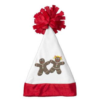 Cute Gingerbread Couple Girl Boy Mr. Mrs Christmas Santa Hat