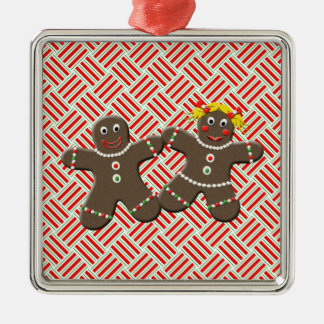 Cute Gingerbread Couple Girl Boy Mr. Mrs Christmas Silver-Colored Square Decoration