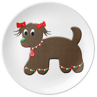 Cute Gingerbread Doggy Decorative Christmas Puppy Porcelain Plate