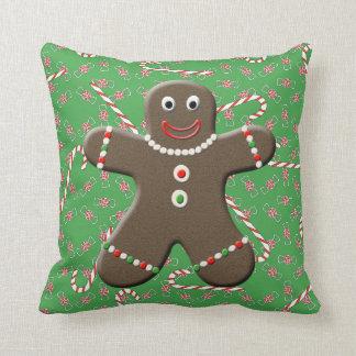 Cute Gingerbread Girl & Boy Christmas Throw Pillow