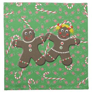 Cute Gingerbread Girl Boy Couple Christmas Candies Cloth Napkins