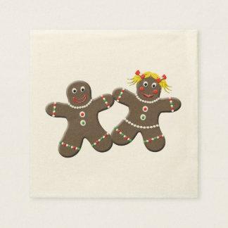 Cute Gingerbread  Girl Boy Husband Wife Christmas Paper Napkin