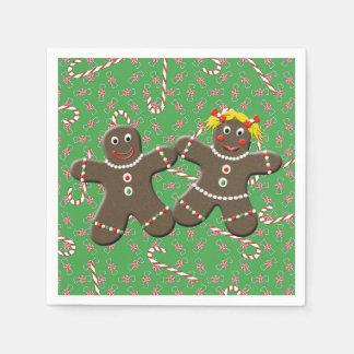 Cute Gingerbread  Girl Boy Husband Wife Christmas Paper Napkins