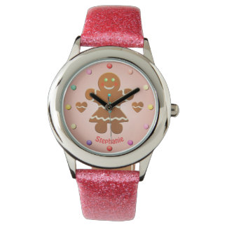 Cute Gingerbread Girl With Editable Name Watch