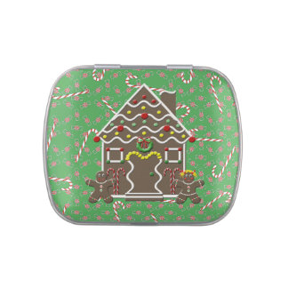 Cute Gingerbread House Boy Girl Christmas Candy Candy Tin