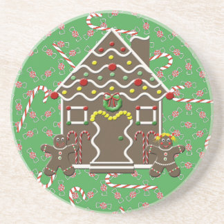 Cute Gingerbread House Boy Girl Christmas Candy Coasters