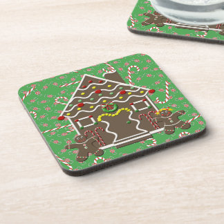 Cute Gingerbread House Boy Girl Christmas Candy Coaster