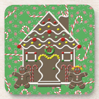 Cute Gingerbread House Boy Girl Christmas Candy Drink Coasters