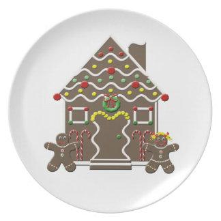 Cute Gingerbread House Boy Girl Christmas Plates