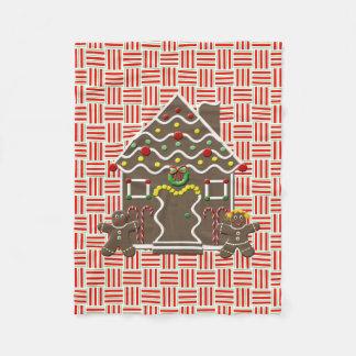 Cute Gingerbread House Boy Girl Festive Christmas Fleece Blanket