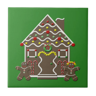 Cute Gingerbread House Ceramic Christmas Tile