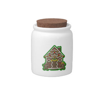 Cute Gingerbread House Christmas Kitchen Canister Candy Dish