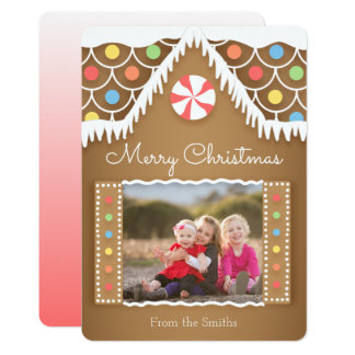 Cute Gingerbread House Christmas Photo Card