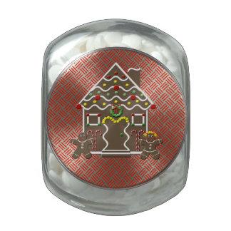 Cute Gingerbread House Festive Christmas Treats Glass Candy Jar