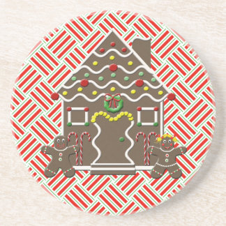 Cute Gingerbread House Gingerbread Couple Drink Coaster