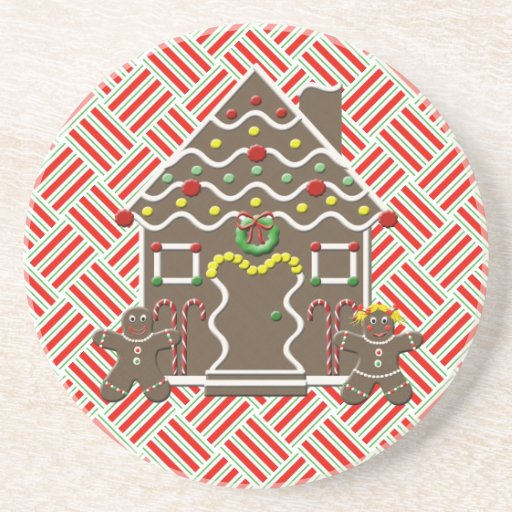 Cute Gingerbread House Gingerbread Couple Beverage Coaster