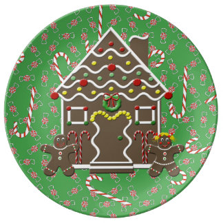 Cute Gingerbread House Gingerbread Couple Porcelain Plate