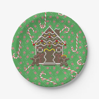 Cute Gingerbread House Gingerbread Couple 7 Inch Paper Plate