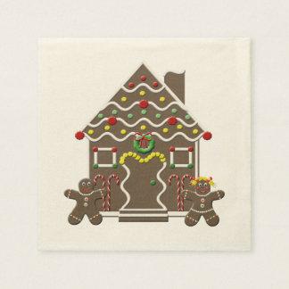 Cute Gingerbread House Girl & Boy Christmas Disposable Napkin