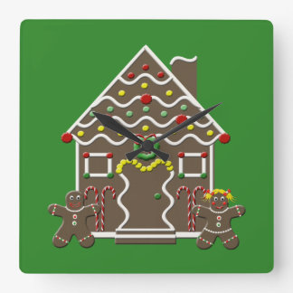 Cute Gingerbread House Green Christmas Wall Clock