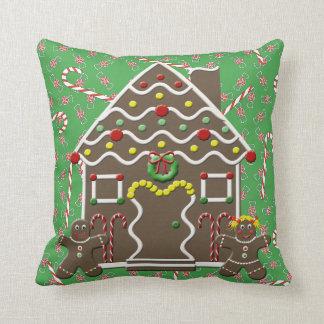 Cute Gingerbread House Man Woman Christmas Cushion