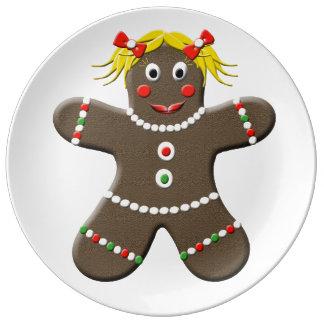 Cute Gingerbread Lady Decorative Christmas Porcelain Plates